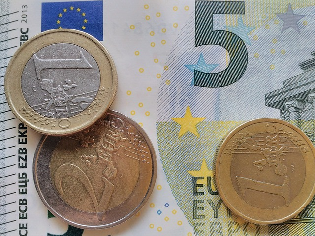 detail eurobankovky a mincí